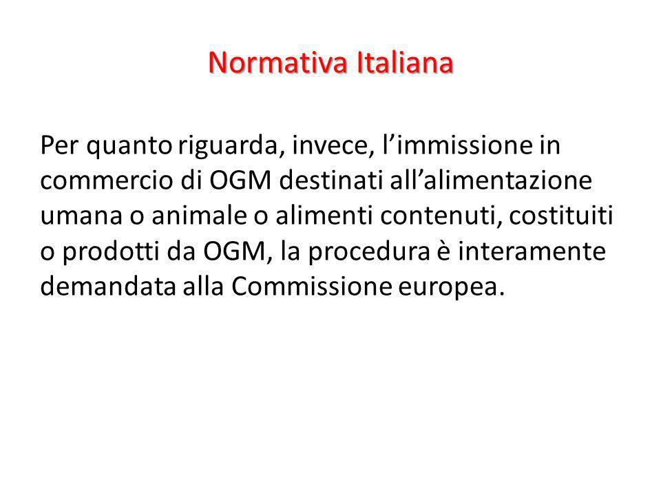 Normativa Italiana Per quanto riguarda, invece, limmissione in commercio di OGM destinati allalimentazione umana o animale o alimenti contenuti, costi