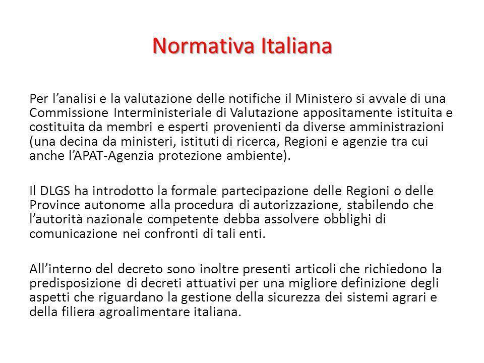 Normativa Italiana Per lanalisi e la valutazione delle notifiche il Ministero si avvale di una Commissione Interministeriale di Valutazione appositame