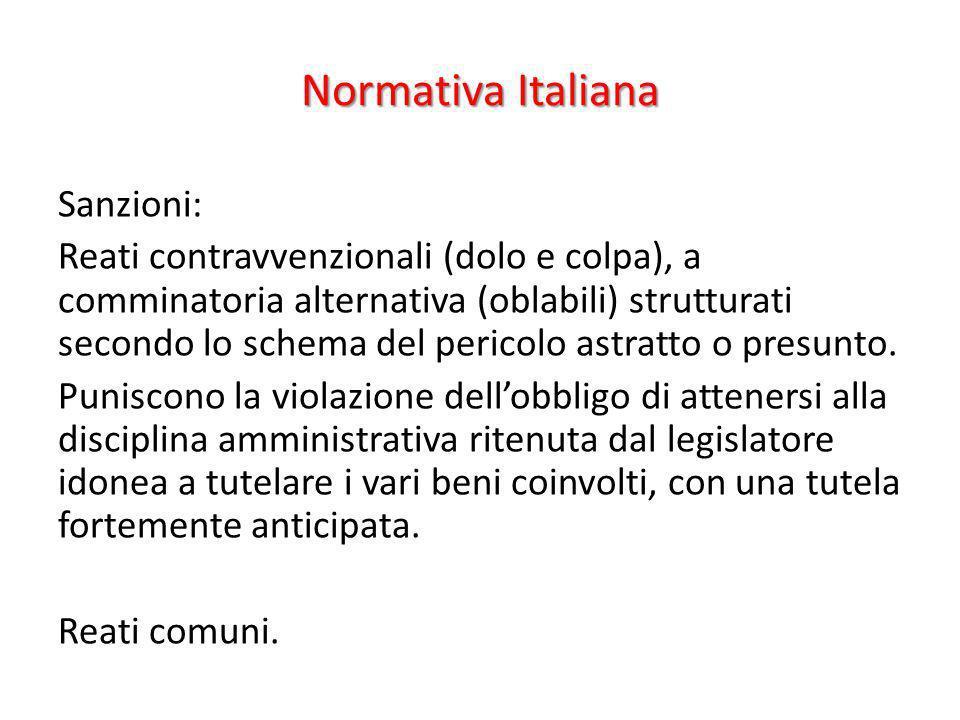 Normativa Italiana Sanzioni: Reati contravvenzionali (dolo e colpa), a comminatoria alternativa (oblabili) strutturati secondo lo schema del pericolo