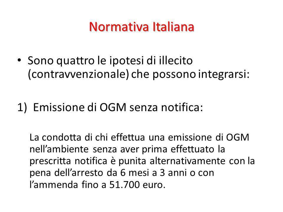 Normativa Italiana Sono quattro le ipotesi di illecito (contravvenzionale) che possono integrarsi: 1)Emissione di OGM senza notifica: La condotta di c