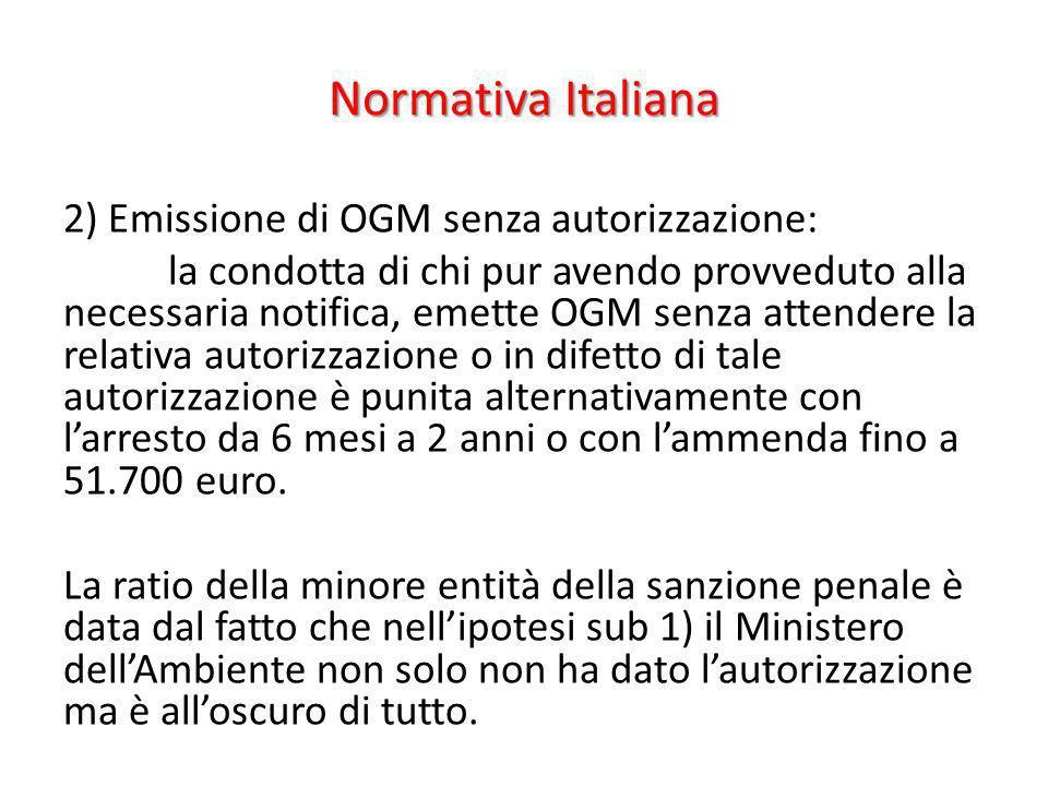 Normativa Italiana 2) Emissione di OGM senza autorizzazione: la condotta di chi pur avendo provveduto alla necessaria notifica, emette OGM senza atten