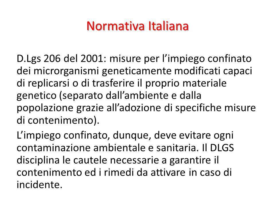 Normativa Italiana D.Lgs 206 del 2001: misure per limpiego confinato dei microrganismi geneticamente modificati capaci di replicarsi o di trasferire i