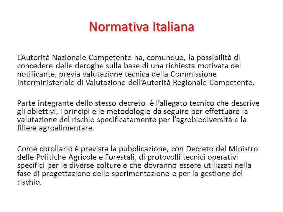Normativa Italiana LAutorità Nazionale Competente ha, comunque, la possibilità di concedere delle deroghe sulla base di una richiesta motivata del not