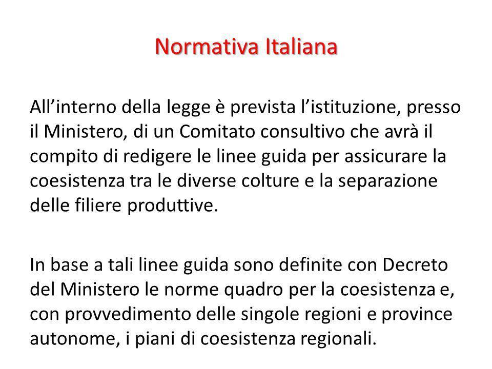 Normativa Italiana Allinterno della legge è prevista listituzione, presso il Ministero, di un Comitato consultivo che avrà il compito di redigere le l