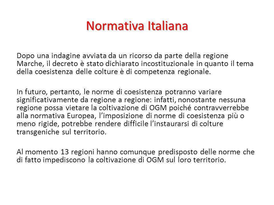 Normativa Italiana Dopo una indagine avviata da un ricorso da parte della regione Marche, il decreto è stato dichiarato incostituzionale in quanto il