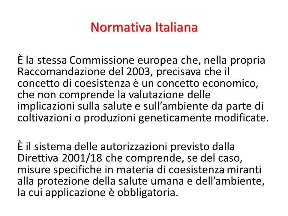Normativa Italiana È la stessa Commissione europea che, nella propria Raccomandazione del 2003, precisava che il concetto di coesistenza è un concetto
