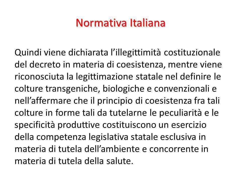 Normativa Italiana Quindi viene dichiarata lillegittimità costituzionale del decreto in materia di coesistenza, mentre viene riconosciuta la legittima