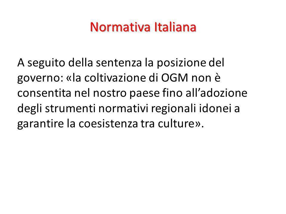 Normativa Italiana A seguito della sentenza la posizione del governo: «la coltivazione di OGM non è consentita nel nostro paese fino alladozione degli
