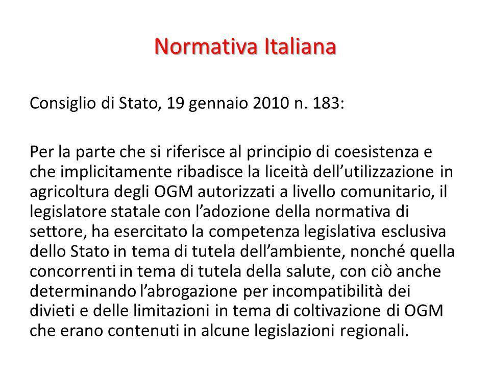 Normativa Italiana Consiglio di Stato, 19 gennaio 2010 n. 183: Per la parte che si riferisce al principio di coesistenza e che implicitamente ribadisc