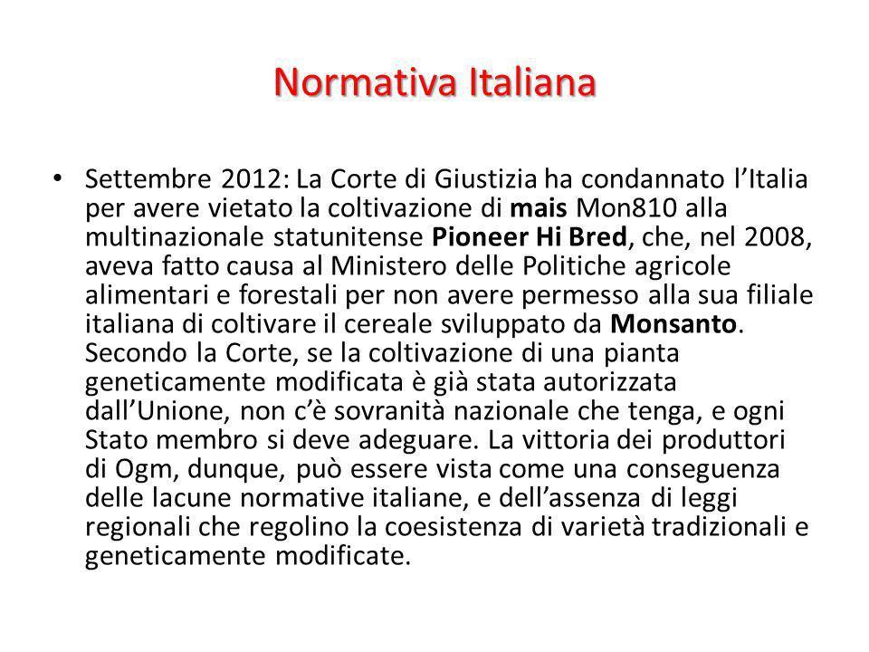 Normativa Italiana Settembre 2012: La Corte di Giustizia ha condannato lItalia per avere vietato la coltivazione di mais Mon810 alla multinazionale st
