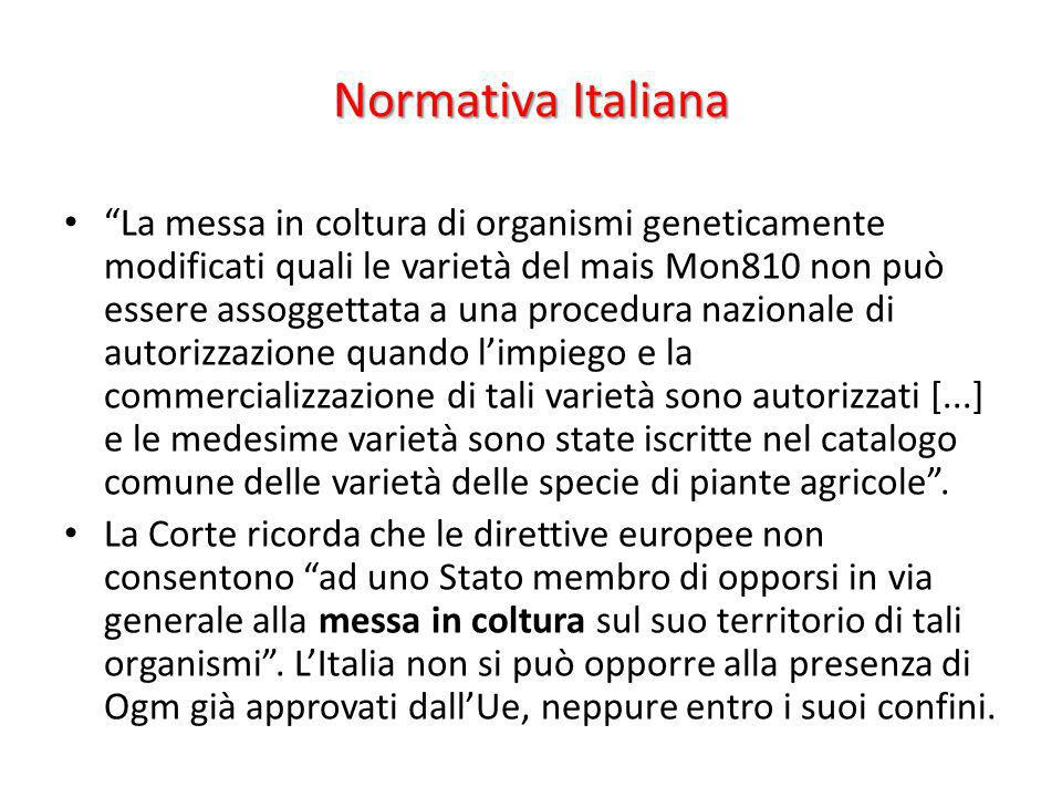 Normativa Italiana La messa in coltura di organismi geneticamente modificati quali le varietà del mais Mon810 non può essere assoggettata a una proced