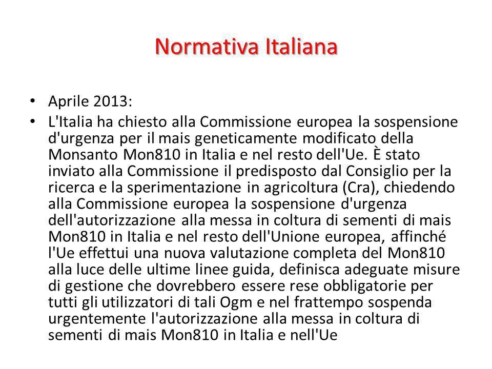 Normativa Italiana Aprile 2013: L'Italia ha chiesto alla Commissione europea la sospensione d'urgenza per il mais geneticamente modificato della Monsa