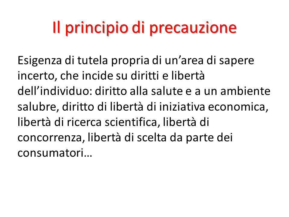 Il principio di precauzione Esigenza di tutela propria di unarea di sapere incerto, che incide su diritti e libertà dellindividuo: diritto alla salute