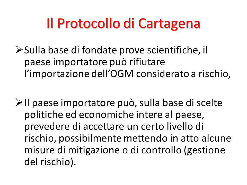 Il Protocollo di Cartagena Sulla base di fondate prove scientifiche, il paese importatore può rifiutare limportazione dellOGM considerato a rischio, I