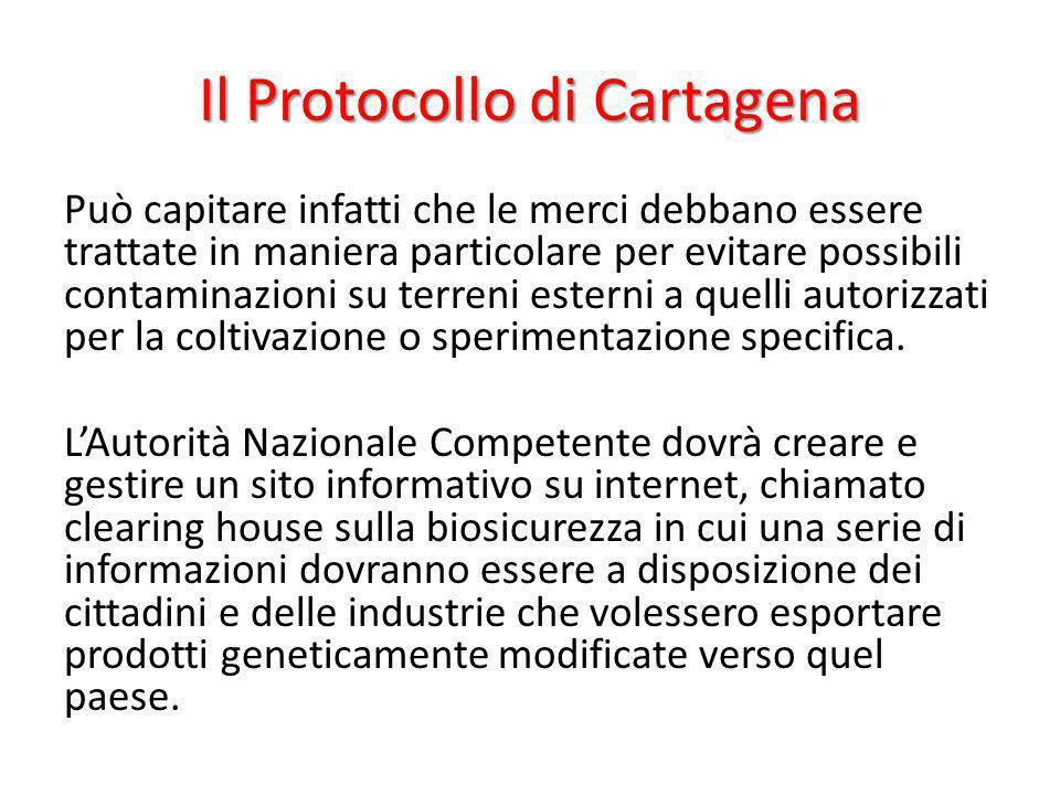 Il Protocollo di Cartagena Può capitare infatti che le merci debbano essere trattate in maniera particolare per evitare possibili contaminazioni su te