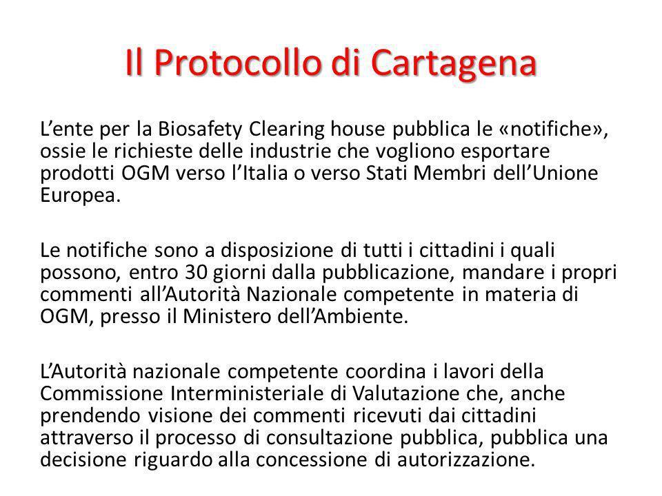 Il Protocollo di Cartagena Lente per la Biosafety Clearing house pubblica le «notifiche», ossie le richieste delle industrie che vogliono esportare pr