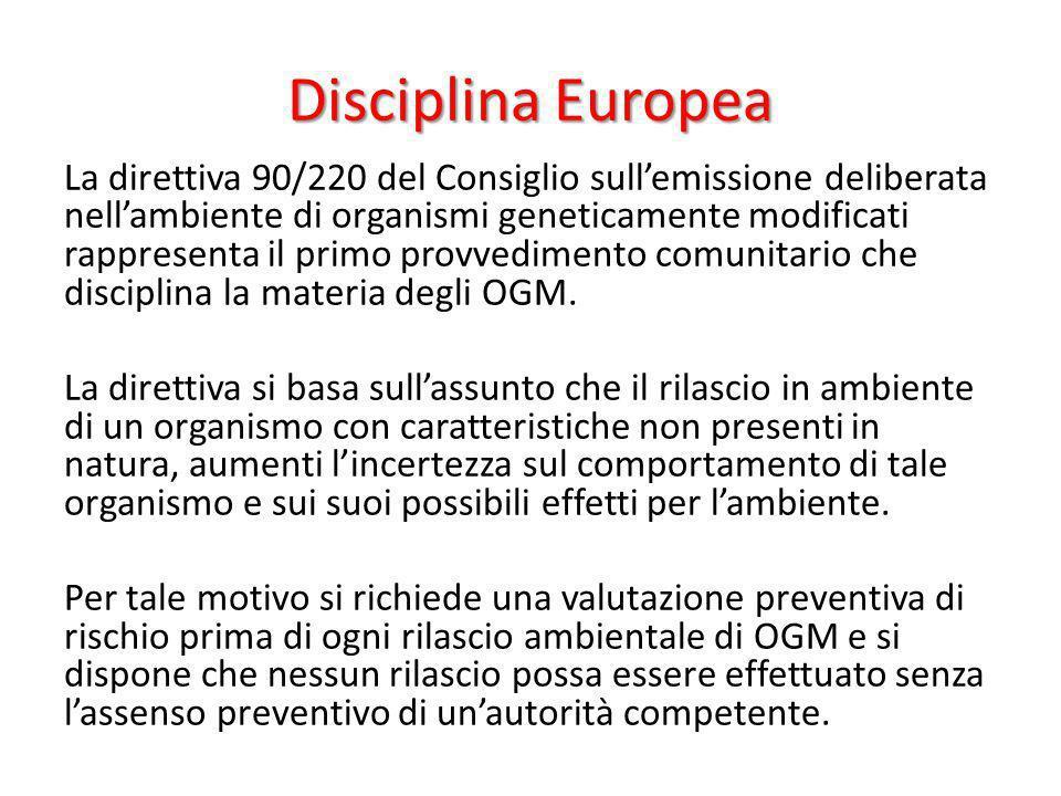 Disciplina Europea La direttiva 90/220 del Consiglio sullemissione deliberata nellambiente di organismi geneticamente modificati rappresenta il primo