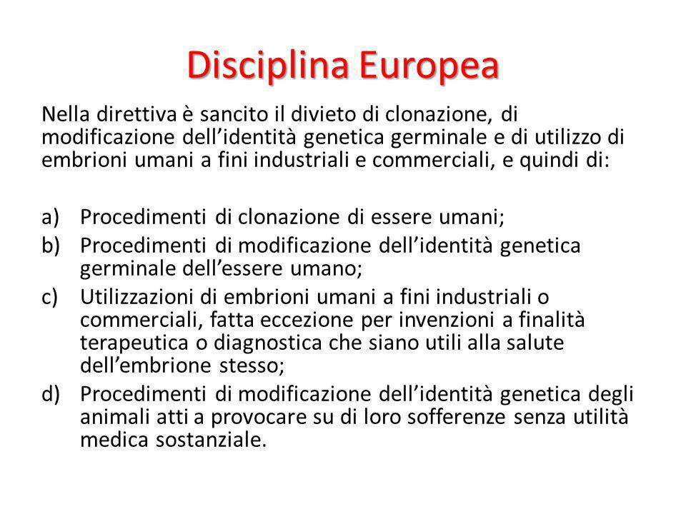 Disciplina Europea Nella direttiva è sancito il divieto di clonazione, di modificazione dellidentità genetica germinale e di utilizzo di embrioni uman