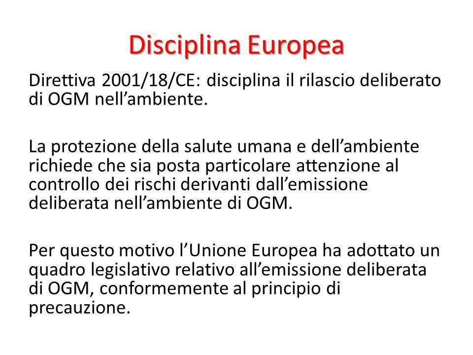 Disciplina Europea Direttiva 2001/18/CE: disciplina il rilascio deliberato di OGM nellambiente. La protezione della salute umana e dellambiente richie