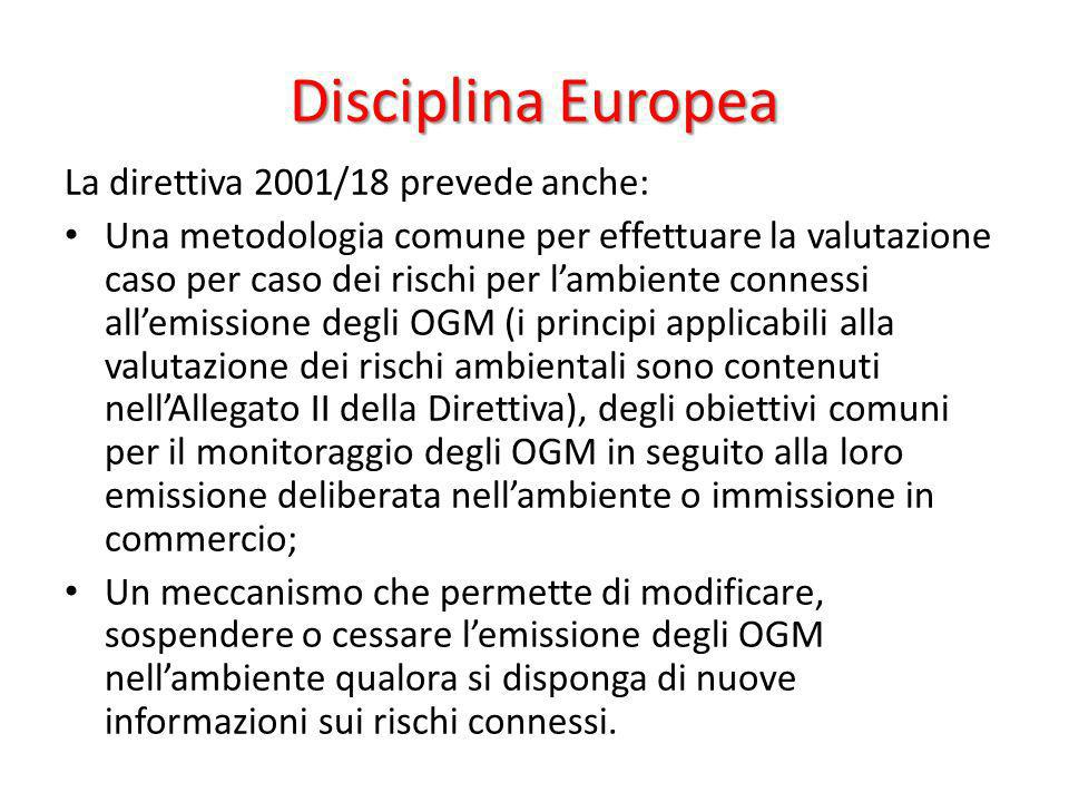 Disciplina Europea La direttiva 2001/18 prevede anche: Una metodologia comune per effettuare la valutazione caso per caso dei rischi per lambiente con