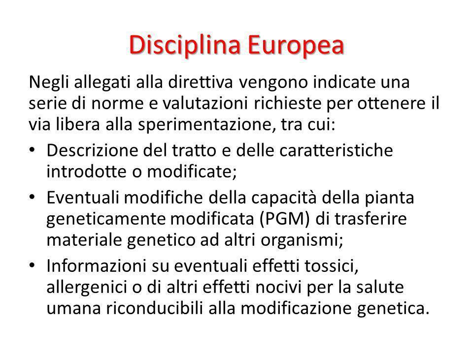 Disciplina Europea Negli allegati alla direttiva vengono indicate una serie di norme e valutazioni richieste per ottenere il via libera alla speriment