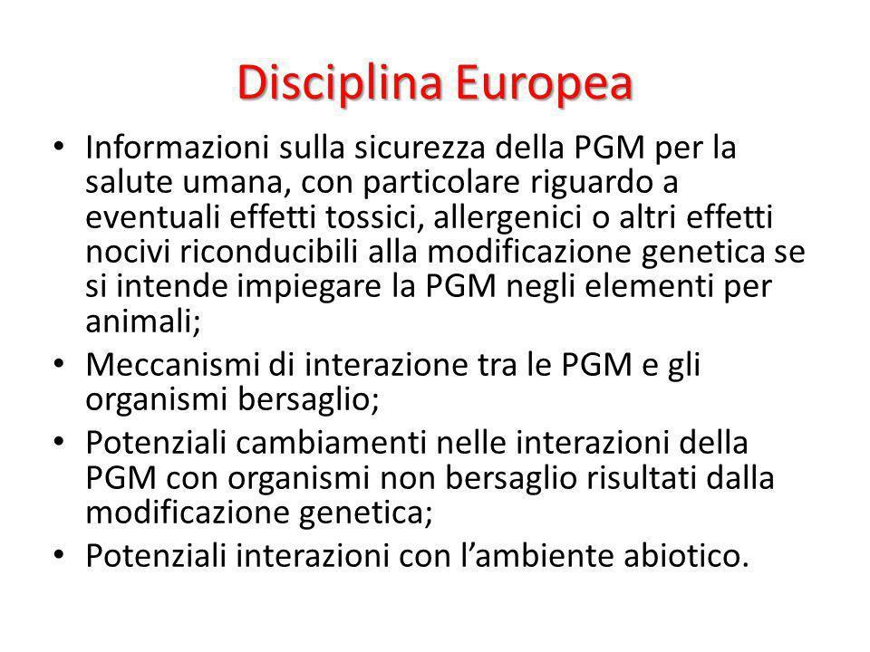 Disciplina Europea Informazioni sulla sicurezza della PGM per la salute umana, con particolare riguardo a eventuali effetti tossici, allergenici o alt