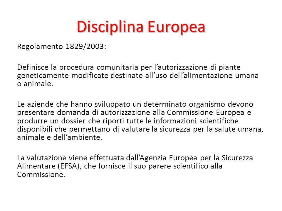 Disciplina Europea Regolamento 1829/2003: Definisce la procedura comunitaria per lautorizzazione di piante geneticamente modificate destinate alluso d