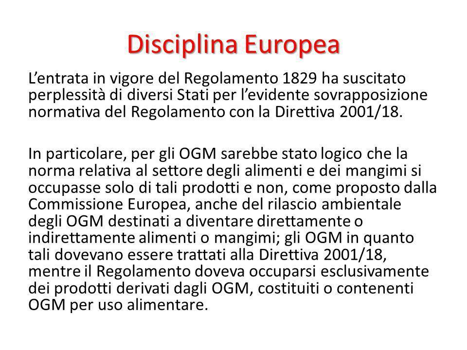 Disciplina Europea Lentrata in vigore del Regolamento 1829 ha suscitato perplessità di diversi Stati per levidente sovrapposizione normativa del Regol