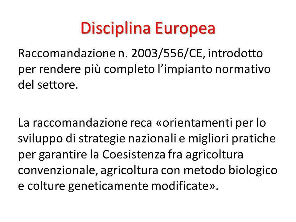 Disciplina Europea Raccomandazione n. 2003/556/CE, introdotto per rendere più completo limpianto normativo del settore. La raccomandazione reca «orien