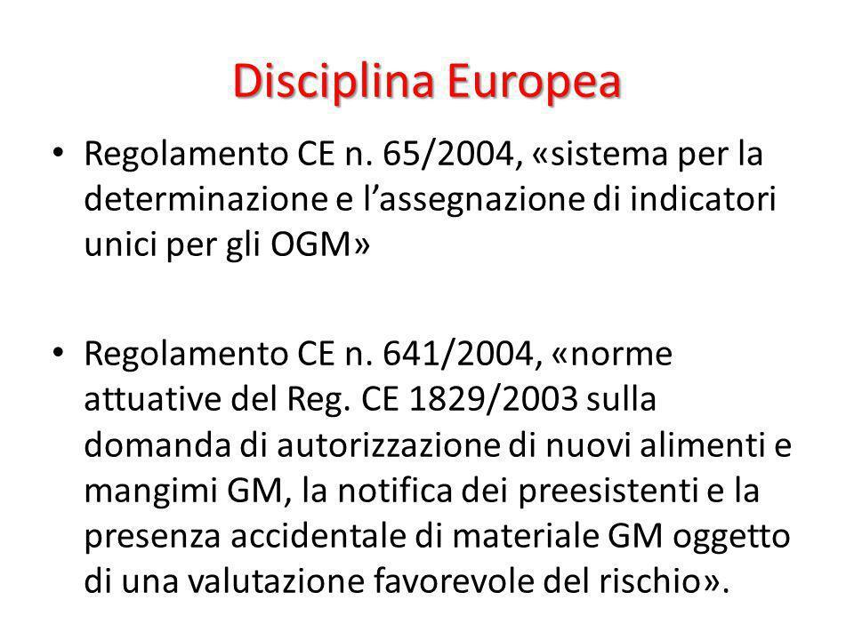 Disciplina Europea Regolamento CE n. 65/2004, «sistema per la determinazione e lassegnazione di indicatori unici per gli OGM» Regolamento CE n. 641/20