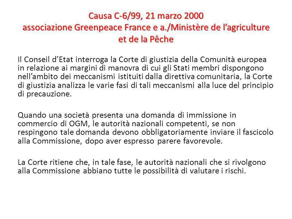 Causa C-6/99, 21 marzo 2000 associazione Greenpeace France e a./Ministère de lagriculture et de la Pêche Il Conseil dEtat interroga la Corte di giusti