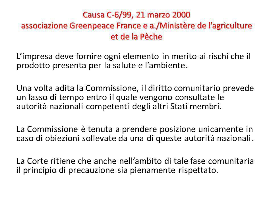 Causa C-6/99, 21 marzo 2000 associazione Greenpeace France e a./Ministère de lagriculture et de la Pêche Limpresa deve fornire ogni elemento in merito