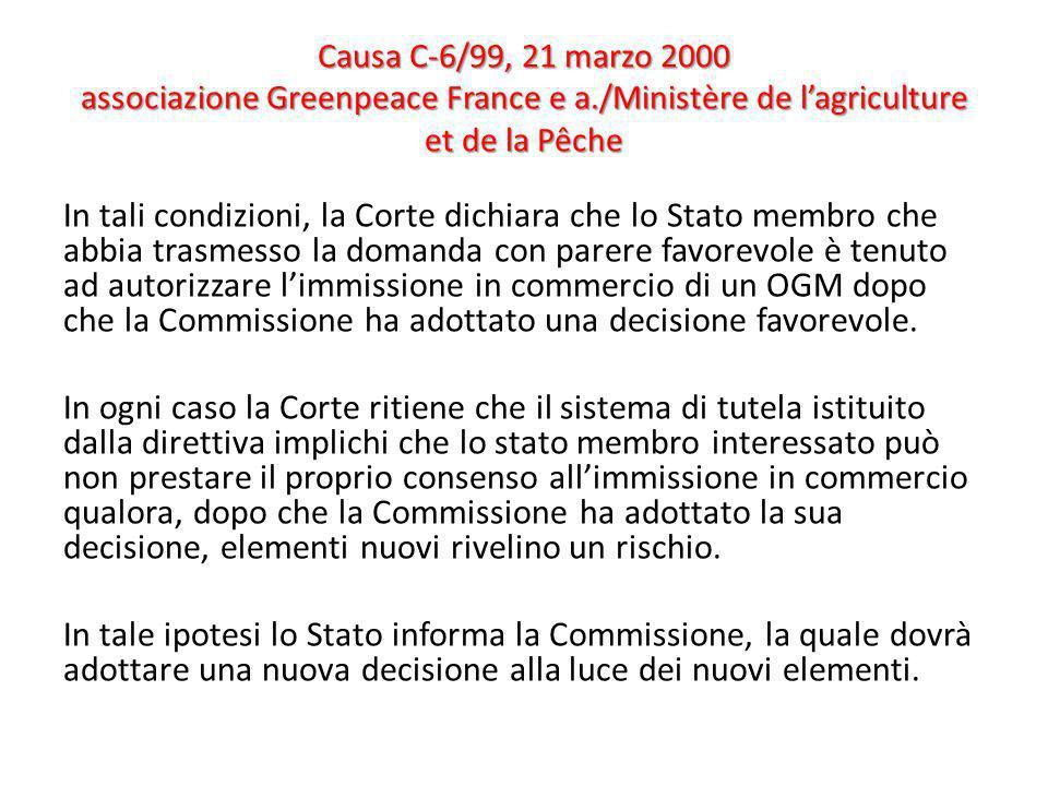 Causa C-6/99, 21 marzo 2000 associazione Greenpeace France e a./Ministère de lagriculture et de la Pêche In tali condizioni, la Corte dichiara che lo