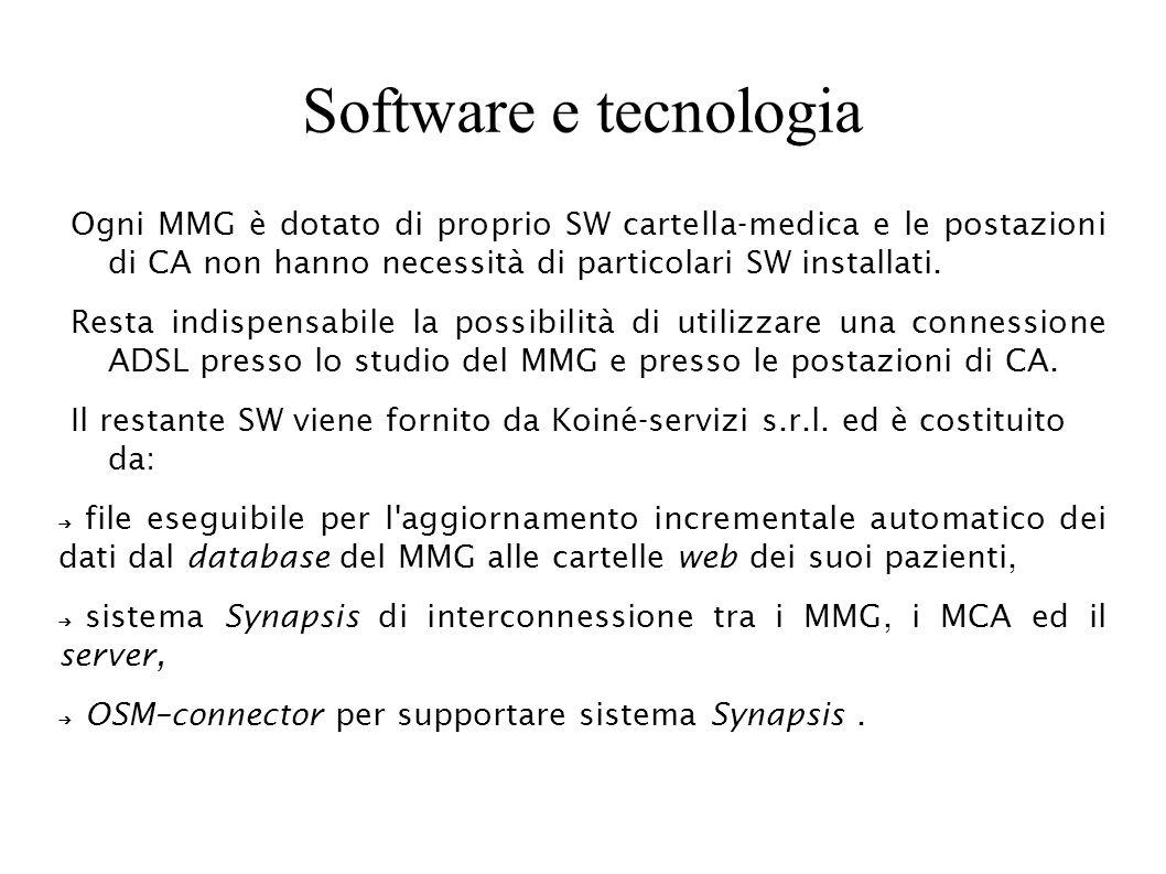 Software e tecnologia Ogni MMG è dotato di proprio SW cartella-medica e le postazioni di CA non hanno necessità di particolari SW installati. Resta in