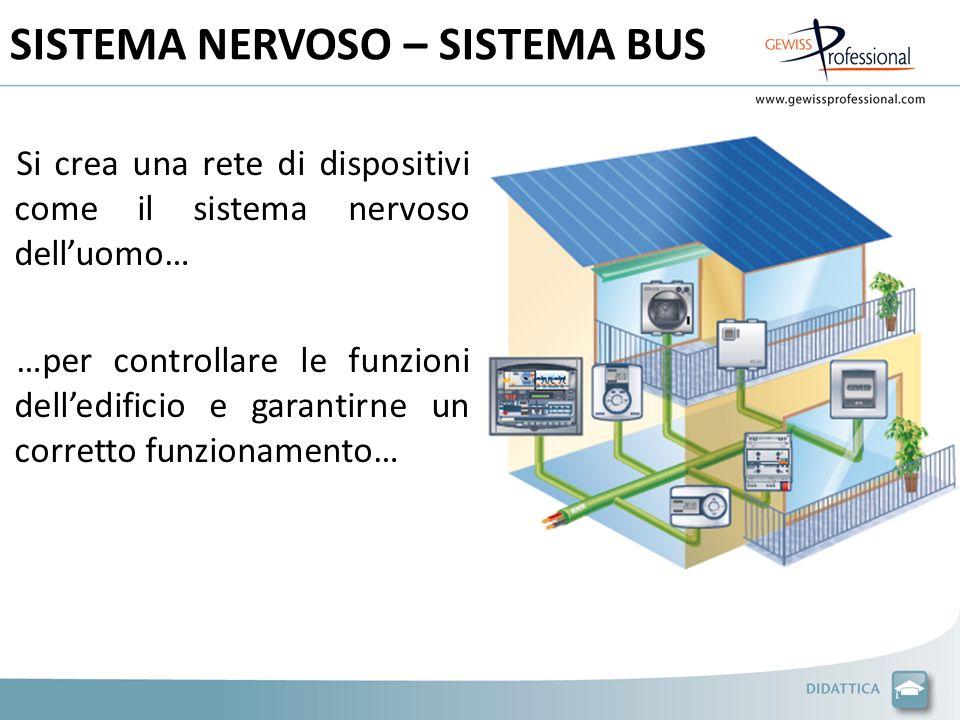 SISTEMA NERVOSO – SISTEMA BUS Si crea una rete di dispositivi come il sistema nervoso delluomo… …per controllare le funzioni delledificio e garantirne