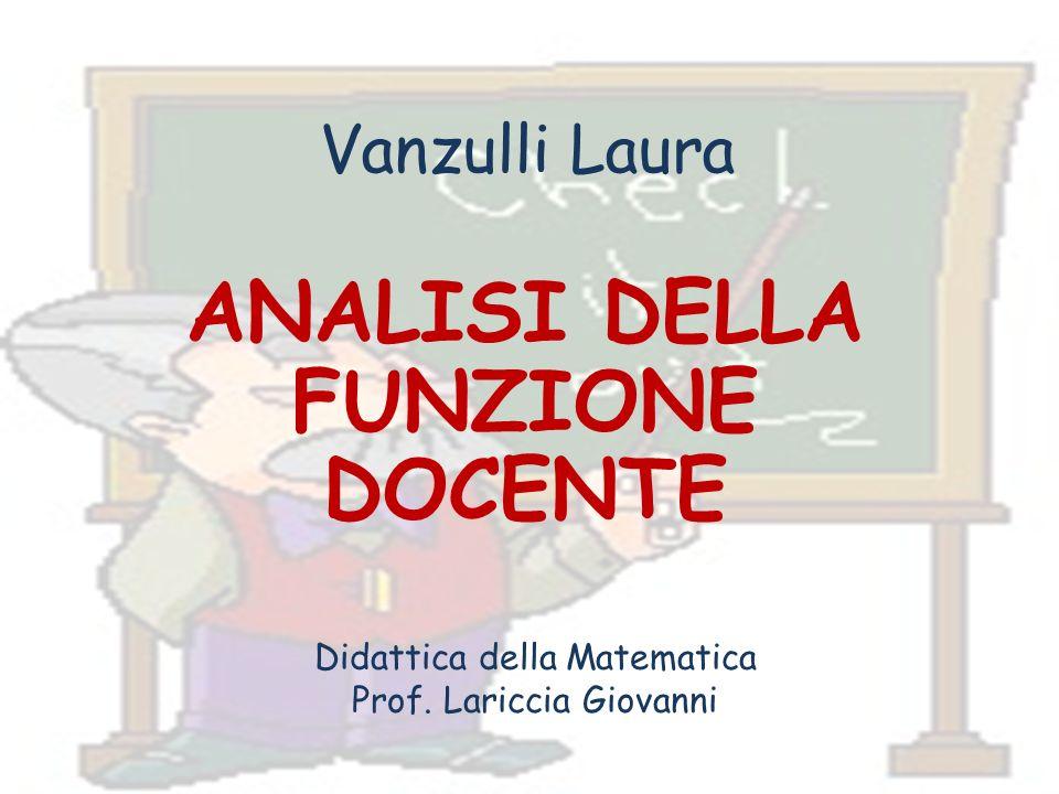 Vanzulli Laura ANALISI DELLA FUNZIONE DOCENTE Didattica della Matematica Prof. Lariccia Giovanni