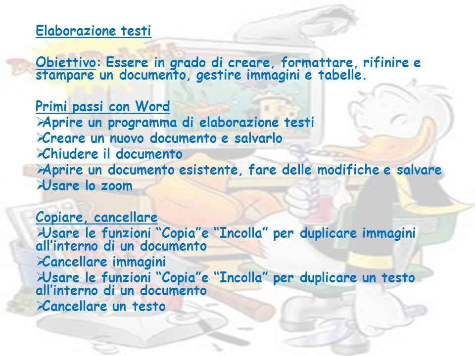 Elaborazione testi Obiettivo: Essere in grado di creare, formattare, rifinire e stampare un documento, gestire immagini e tabelle. Primi passi con Wor