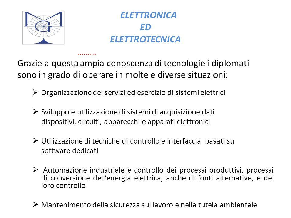 ELETTRONICA ED ELETTROTECNICA ARTICOLAZIONI ELETTRONICA Approfondisce: L elaborazione dei segnali elettrici e quindi delle informazioni.