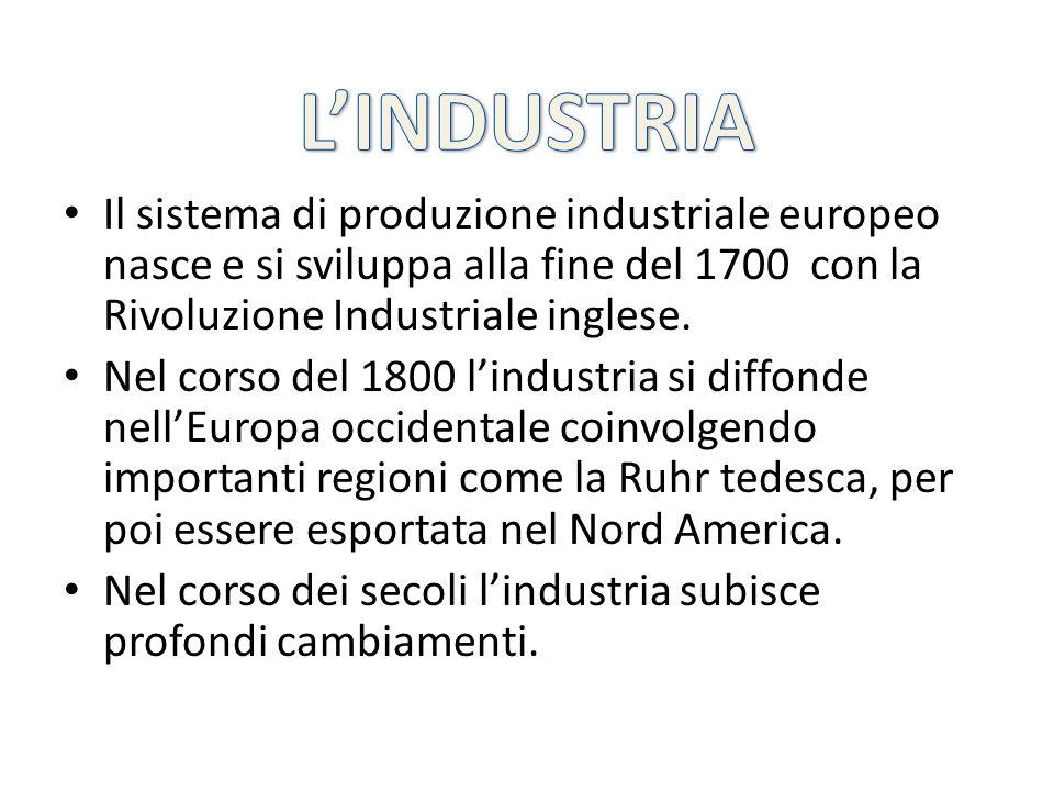 Il sistema di produzione industriale europeo nasce e si sviluppa alla fine del 1700 con la Rivoluzione Industriale inglese. Nel corso del 1800 lindust