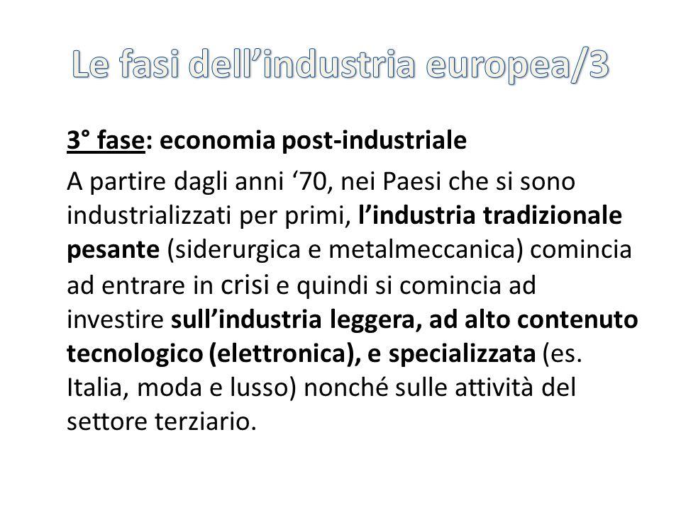 3° fase: economia post-industriale A partire dagli anni 70, nei Paesi che si sono industrializzati per primi, lindustria tradizionale pesante (siderur