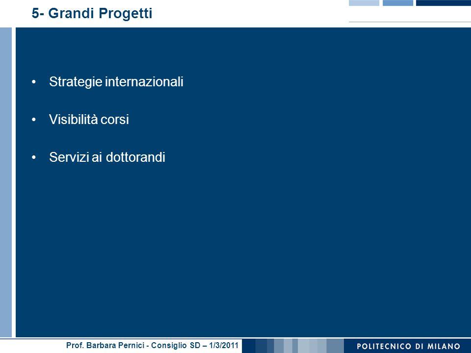 Prof. Barbara Pernici - Consiglio SD – 1/3/2011 5- Grandi Progetti Strategie internazionali Visibilità corsi Servizi ai dottorandi