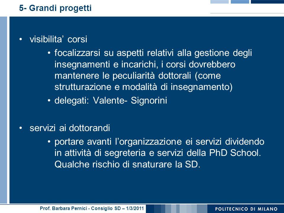 Prof. Barbara Pernici - Consiglio SD – 1/3/2011 5- Grandi progetti visibilita corsi focalizzarsi su aspetti relativi alla gestione degli insegnamenti