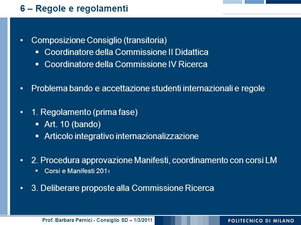 Prof. Barbara Pernici - Consiglio SD – 1/3/2011 6 – Regole e regolamenti Composizione Consiglio (transitoria) Coordinatore della Commissione II Didatt