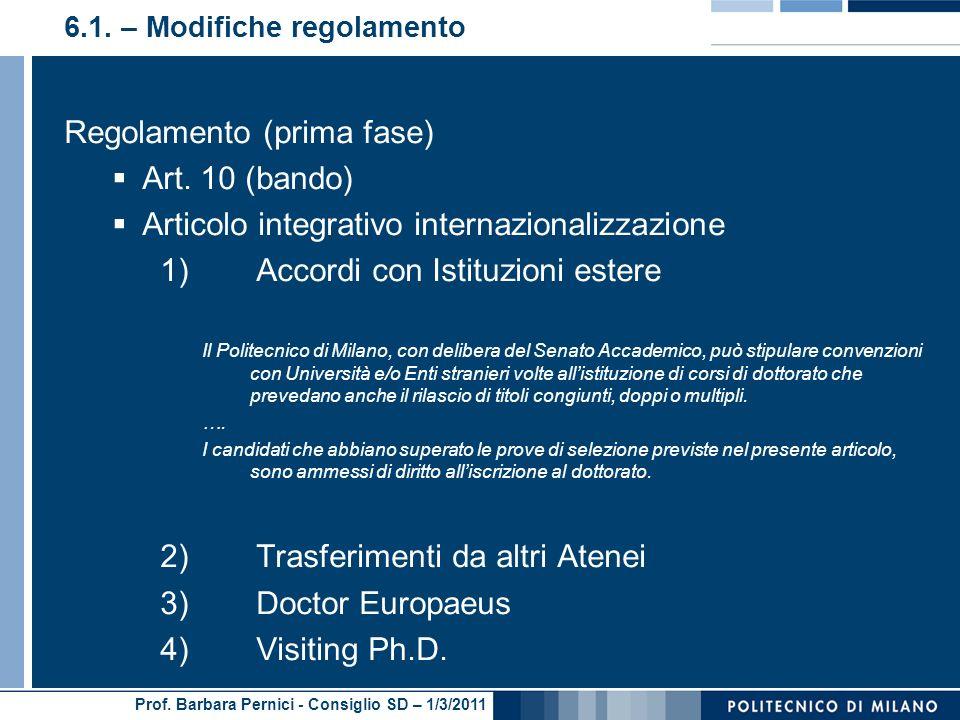 Prof. Barbara Pernici - Consiglio SD – 1/3/2011 6.1. – Modifiche regolamento Regolamento (prima fase) Art. 10 (bando) Articolo integrativo internazion
