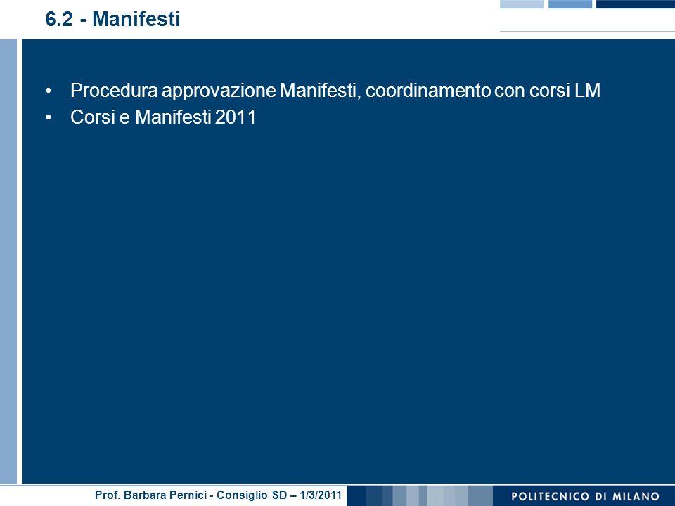 Prof. Barbara Pernici - Consiglio SD – 1/3/2011 6.2 - Manifesti Procedura approvazione Manifesti, coordinamento con corsi LM Corsi e Manifesti 2011