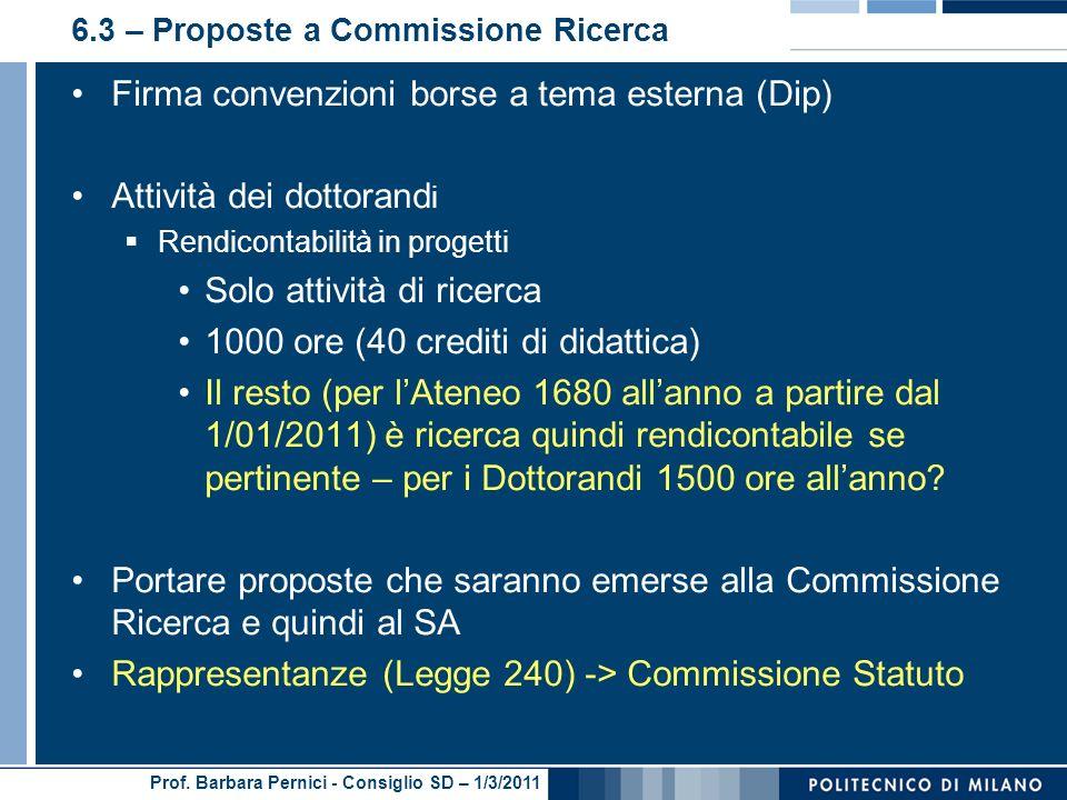 Prof. Barbara Pernici - Consiglio SD – 1/3/2011 6.3 – Proposte a Commissione Ricerca Firma convenzioni borse a tema esterna (Dip) Attività dei dottora
