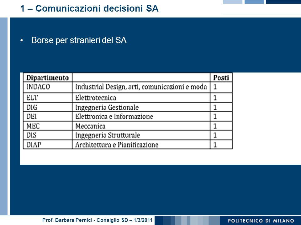 Prof. Barbara Pernici - Consiglio SD – 1/3/2011 1 – Comunicazioni decisioni SA Borse per stranieri del SA