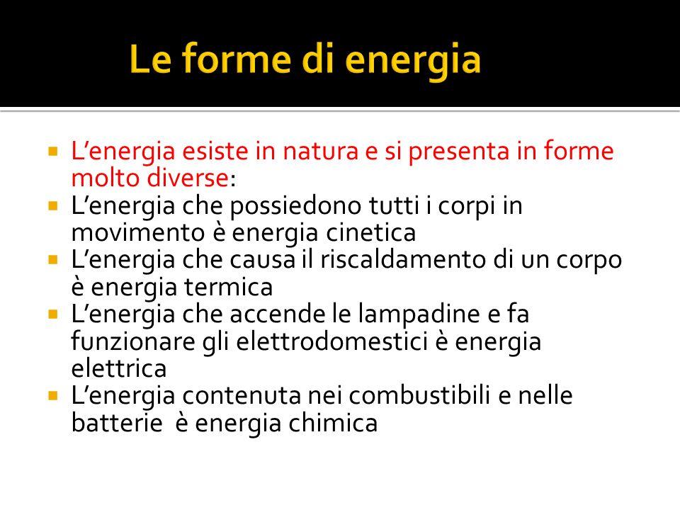 Lenergia esiste in natura e si presenta in forme molto diverse: Lenergia che possiedono tutti i corpi in movimento è energia cinetica Lenergia che cau