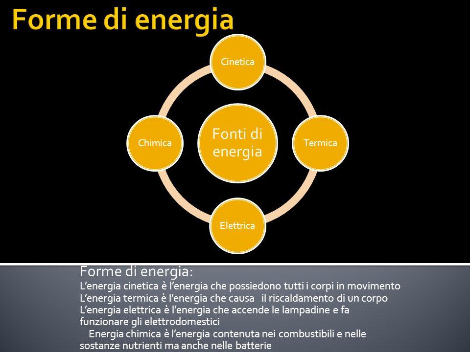 Forme di energia: Lenergia cinetica è lenergia che possiedono tutti i corpi in movimento Lenergia termica è lenergia che causa il riscaldamento di un