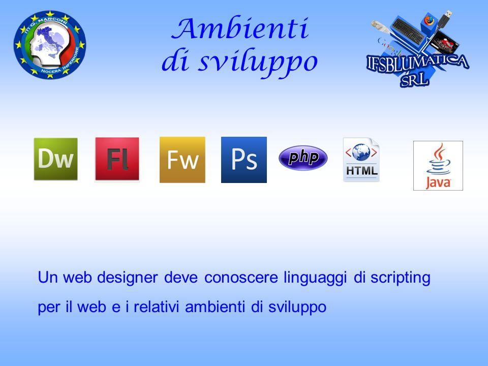 Compiti Il web designer : comprende la tecnologia da usare traduce le esigenze del cliente in concetti adatti al sito web progetta i componenti necessari alla navigazione prepara il layout delle pagine definendone lo stile presenta i contenuti in modo leggibile